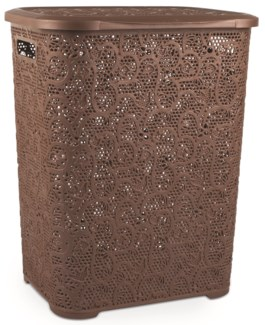 Lace Design Laundry Hamper, 69 Liter, Chocolate (6)