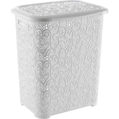 Lace Design Laundry Hamper, 69 Liter, White (6)