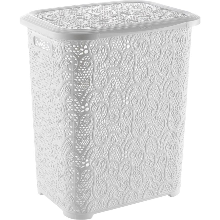 Lace Design Laundry Hamper, 69 Liter, White (6)