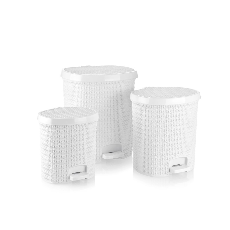 Knit Design Pedalled Dustinbin Set, White: 7 Lt+14 Lt+25 Lt (1 set)