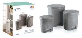 Knit Design Pedalled Dustinbin Set, Grey: 7 Lt+14 Lt+25 Lt (1 set)