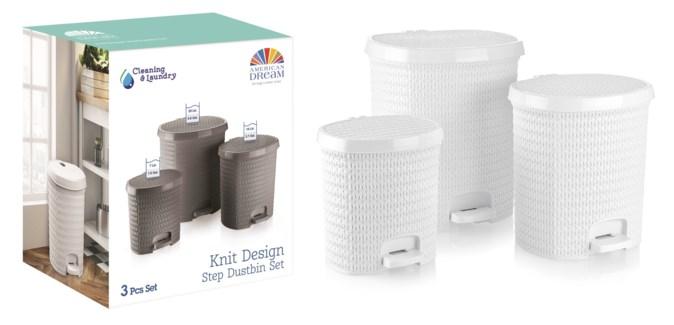 Knit Design Pedalled Dustinbin Set, White: 7 Lt+14 Lt+25 Lt (1 set)