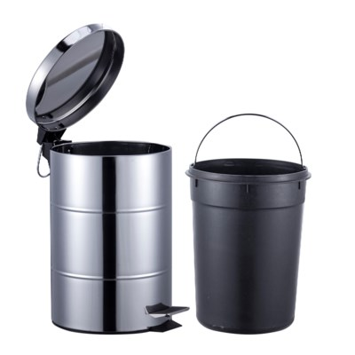 S.S. Chrome Garbage Can Set 3Lt. + 12Lt. (4 Sets)