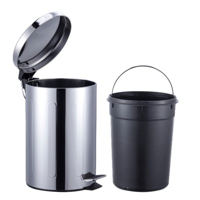 S.S. Chrome Garbage Can Set 3Lt. + 12Lt. (4 Sets)