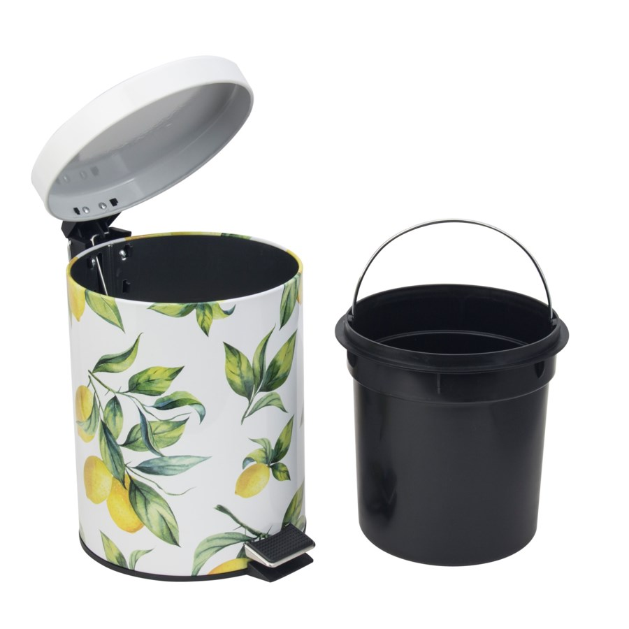 Lemon Print Iron Garbage Can Set 5Lt. + 30Lt. (2 Sets)