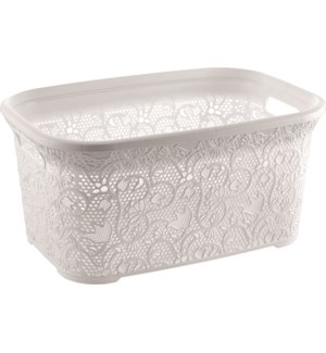 White - Lace Cornered Laundry Basket 36 Lt  (6)