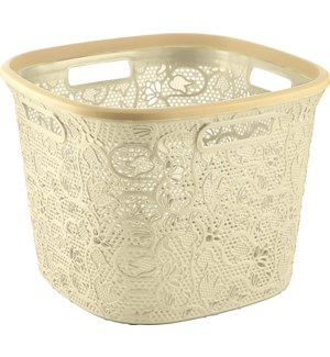 Beige - 36 Liter Lace Square Laundry Basket (6)