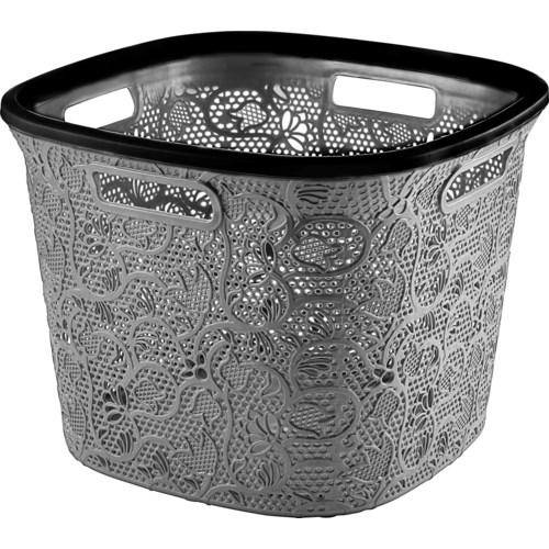 Grey - 36 Liter Lace Square Laundry Basket (6)