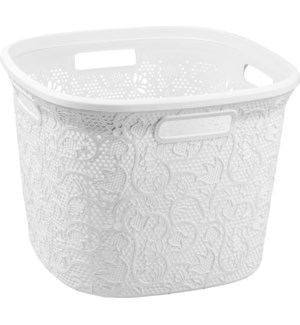 White - 36 Liter Lace Square Laundry Basket (6)