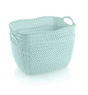 2Pc Set Mint Woven Multipurpose Plastic Storage Baskets (6 Sets)