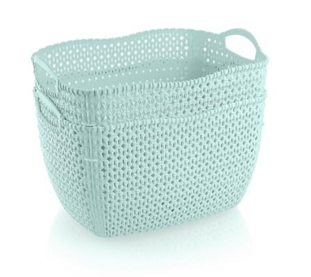 2Pc Set Mint Woven Multipurpose Plastic Storage Baskets (6 Sets)