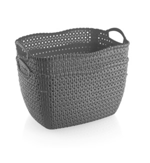 2Pc Set Grey Woven Multipurpose Plastic Storage Baskets (6 Sets)
