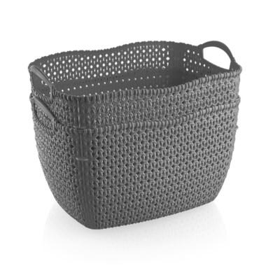 2Pc Set Grey Woven Multipurpose Plastic Storage Baskets (6 Sets)