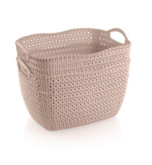 2Pc Set Pink Woven Multipurpose Plastic Storage Baskets (6 Sets)