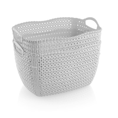 2Pc Set White Woven Multipurpose Plastic Storage Baskets (6 Sets)