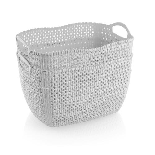 2Pc Set White Woven Multipurpose Plastic Storage Baskets (6 Sets)