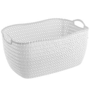 White - 32 Liter Knit Design Laundry Basket (6)