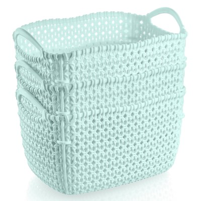 3Pc Set Mint Woven Multipurpose Plastic Storage Baskets (6 Sets)