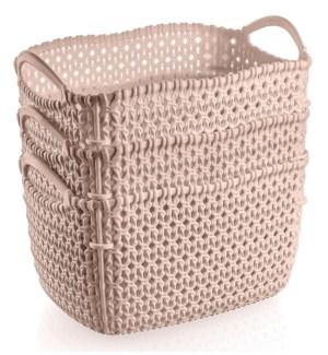 3Pc Set Pink Woven Multipurpose Plastic Storage Baskets (6 Sets)