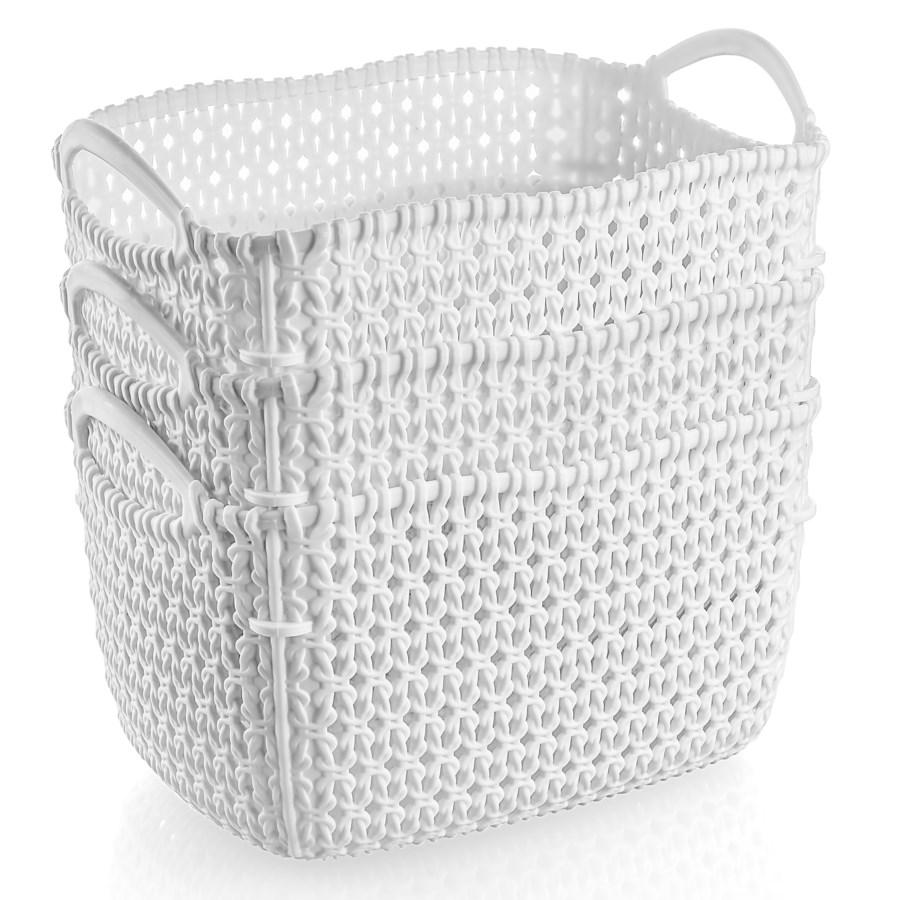 3Pc Set White Woven Multipurpose Plastic Storage Baskets (6 Sets)