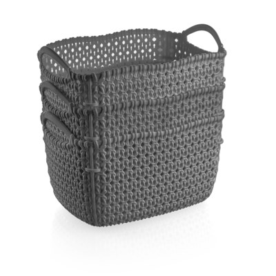3Pc Set Grey Woven Multipurpose Plastic Storage Baskets (6 Sets)