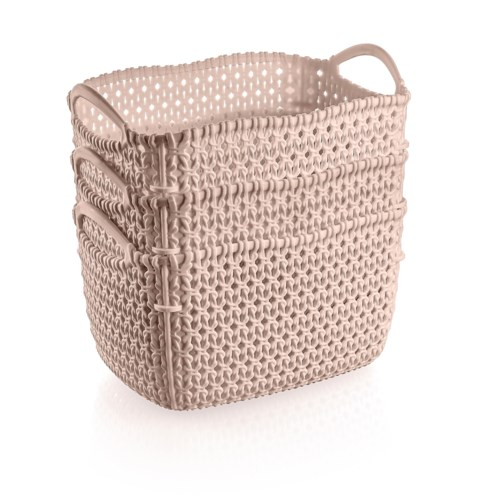 3Pc Set Pink Woven Multipurpose Plastic Storage Baskets (6 Sets)