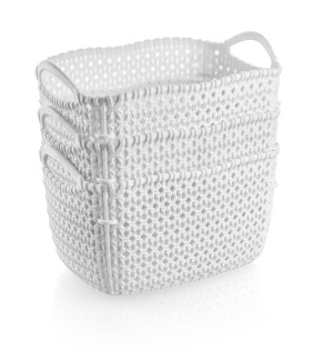 3Pc Set White Woven Multipurpose Plastic Storage Baskets (6 Sets)