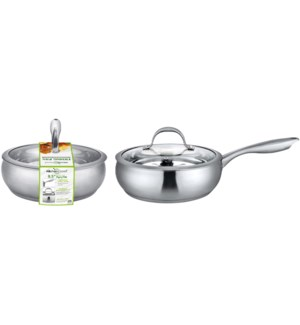 """9.5"""" S.S. Fry Pan with Glass Lid (4)"""
