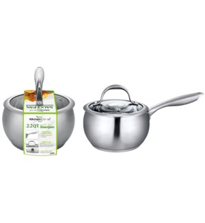 2.2QT S.S. Sauce Pan with Glass Lid (6)