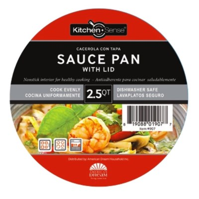 2.5Qt Non Stick Sauce Pan W.Glass Lid ( 6 )