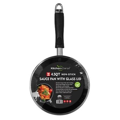 4.5Qt Non Stick Sauce Pan W.Glass Lid ( 6 )