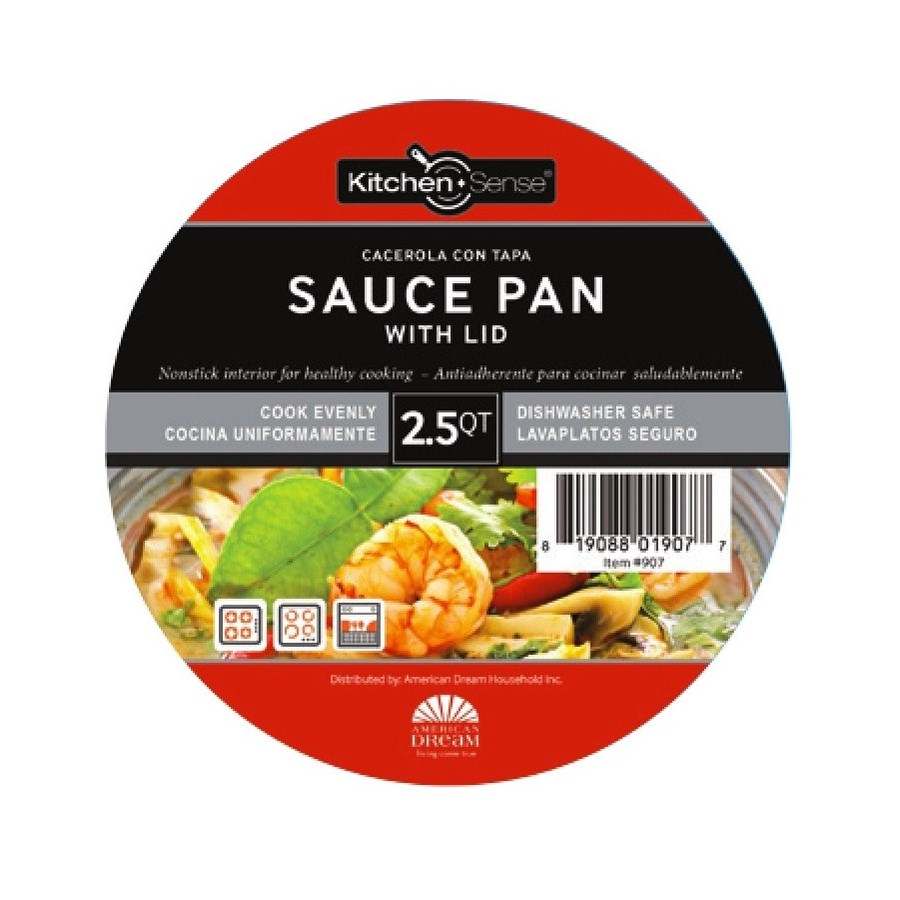 3.5Qt Non Stick Sauce Pan W.Glass Lid ( 6 )