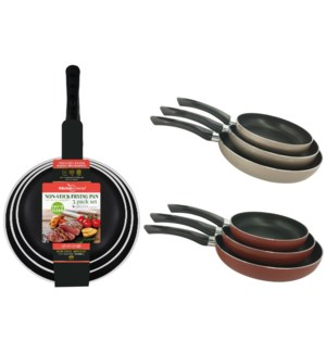 3 pcs Non Stick Fry Pan ( 6 sets ) 2 Colors Assorted