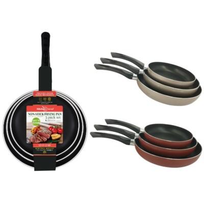 3 pcs Non Stick Fry Pan ( 6 sets ) 2 Colors Assorted
