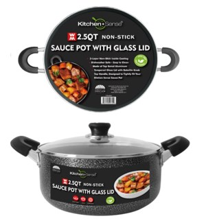 2.5Qt Non-Stick Sauce Pot w/ Glass Lid ( 6 )