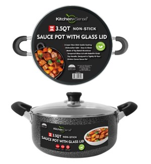 3.5Qt Non-Stick Sauce Pot w/ Glass Lid ( 6 )