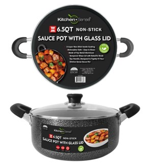 6.5Qt Non-Stick Sauce Pot w/ Glass Lid ( 6 )
