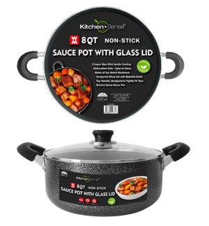 8Qt Non-Stick Sauce Pot w/ Glass Lid ( 6 )