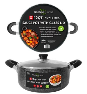 10Qt Non-Stick Sauce Pot w/ Glass Lid ( 6 )