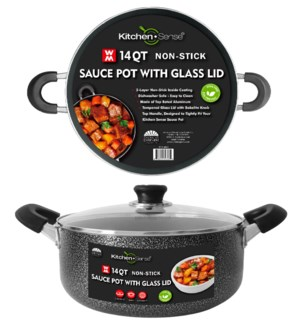 14Qt Non-Stick Sauce Pot w/ Glass Lid (2)