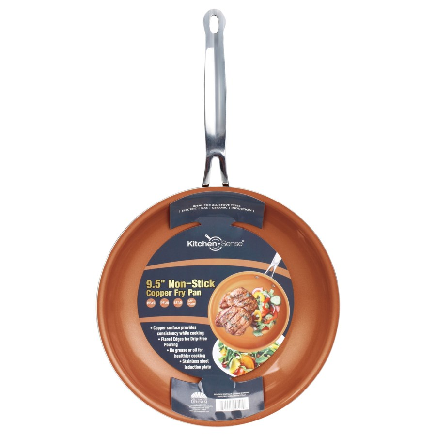 "9.5"" Copper Fry Pan with Wide Edge (6)"