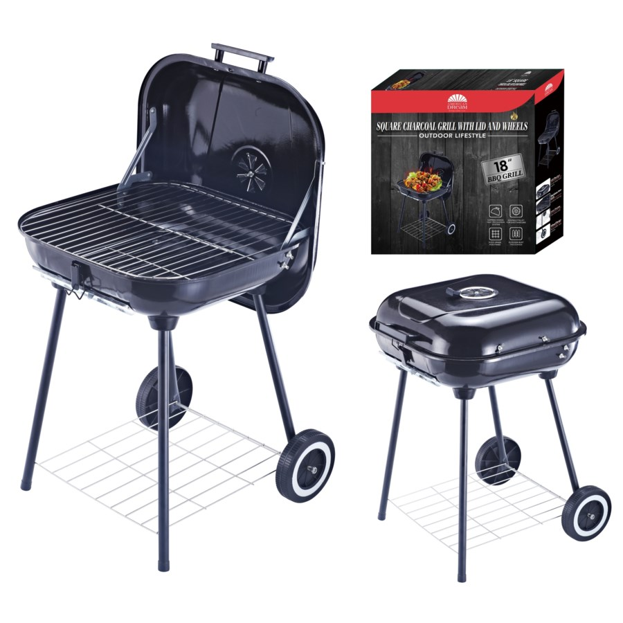 """18"""" X 18"""" Charcoal Grill with Lid and wheels (1)"""