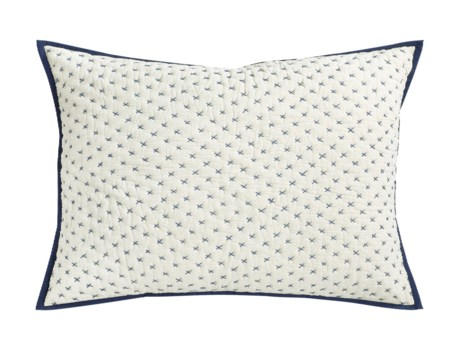 Addison-Dutch Euro-Sham-Natural w/ Indigo Stitch