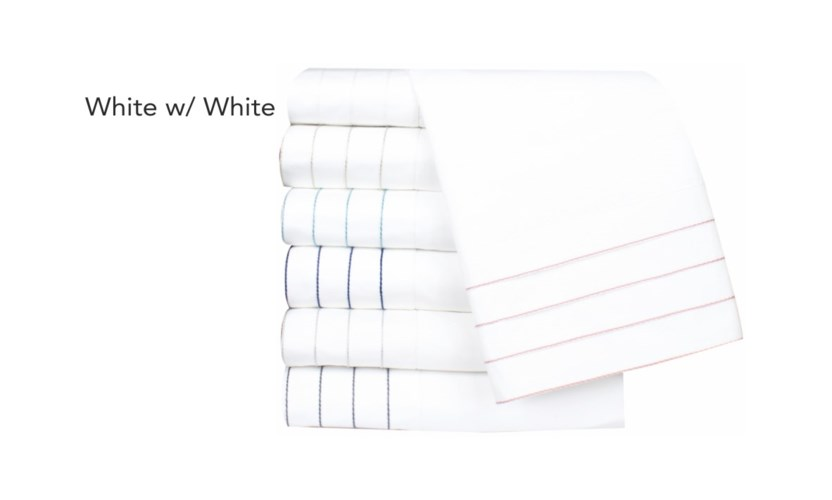Jordan-King-Sheet Set-White w/ White Stitching