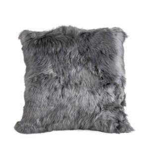 "Alpaca Cushion Alpaca Back 18"" Light Grey"