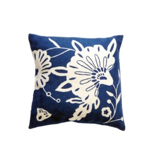 Cotton and Wool Hand Embroidered Floral Cushion