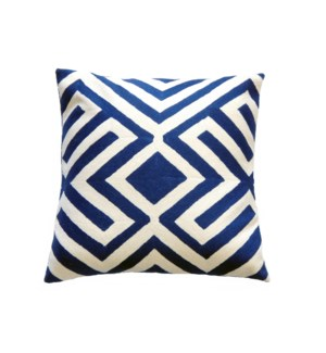 Cotton and Wool Hand Embroidered Chevron Cushion