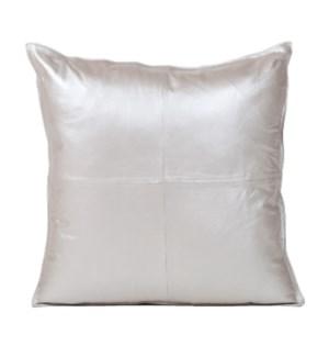 """Cushion Cowhide Dull Silver 20x20"""""""