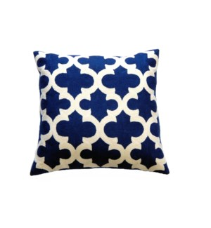 Cotton and Wool Hand Embroidered Clover Cushion