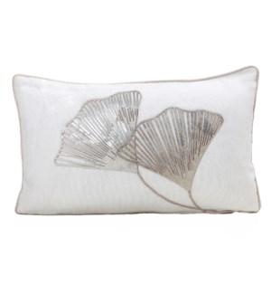"Cushion Laser Cowhide GINKO 12x20"" White"